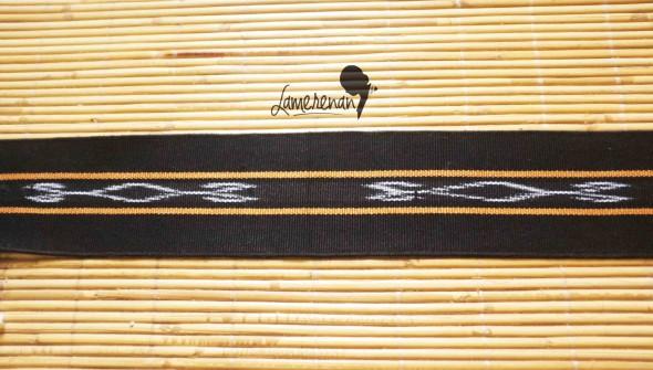 Tanimbar Mini shawl - Black 01 115 cm x  8 cm