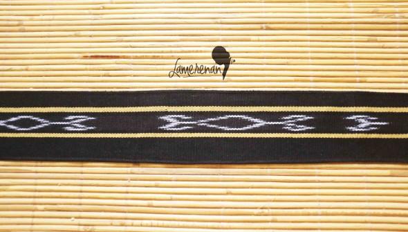 Tanimbar Mini shawl - Black 02 115 cm x  8 cm